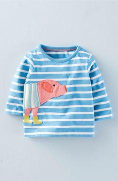 Main Image - Mini Boden 'Farm Friends' Stripe Long Sleeve Tee (Baby Girls & Toddler Girls)