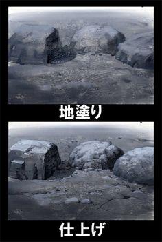 石の描き方
