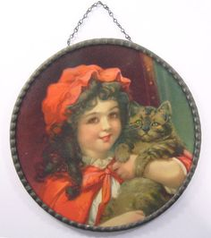 FRANCES BRUNDAGE Girl in Red with CAT - FLUE COVER
