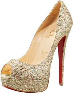 Louboutin Lady Glittered Peep-toe Pump - Lyst