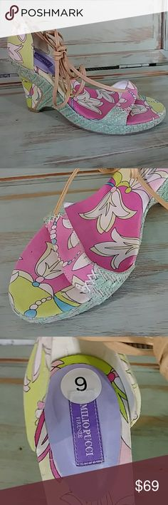 Emolio Pucco floral ankle-strap shoe Great shape. Adorable ankle strap. Heel is 4 in.  Made in Spain. Emilio Pucci Shoes
