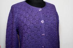 """Жакет на пуговицах из мериноса вязаный крючком """"Фиолетовый"""" – купить в интернет-магазине на Ярмарке Мастеров с доставкой - FHSFXRU"""