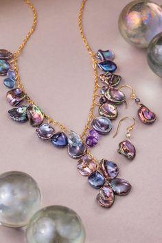 Cute Jewelry, Pearl Jewelry, Stone Jewelry, Jewelry Crafts, Beaded Jewelry, Jewelery, Jewelry Necklaces, Beaded Necklace, Handmade Wire Jewelry