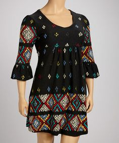 Take a look at this Charcoal Crochet Print Empire-Waist Dress - Plus by Ice Silk on #zulily today! $39.99