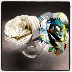 Beautiful paper roses made with discarded books at Los Angeles Central Library.
