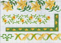 "ru / Los-ku-tik - Album ""A Punto croce Bordyurchiki grande. Cross Stitch Boarders, Beaded Cross Stitch, Simple Cross Stitch, Cross Stitch Flowers, Cross Stitch Charts, Cross Stitch Designs, Cross Stitching, Cross Stitch Embroidery, Cross Stitch Patterns"