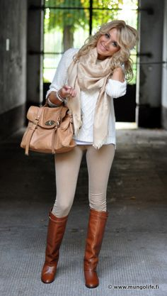 tan scarf, tan skinny jeans, white sweater, brown boots, tan purse