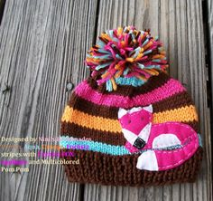Knit+GIRLS++FOX+Childrens+and+Baby+Pom+Pom+Hat++by+NinisHandmades,+$26.50