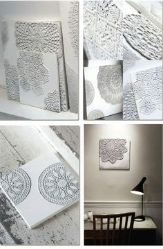 """Artist, Ulrika Bjorkman, reuses crocheted tablecloth and lace and gives them a new form by moving them """"from the table to the wall"""". Original handmade crocheted pieces were collected from different women making each piece a unique work of art."""