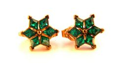 Crown Trifari Green Rhinestone Star Earrings by VintageJewelryPlus, $22.00