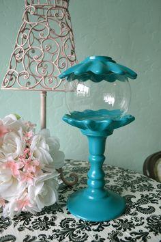 Apothecary jar & damask tablecloth