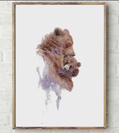 Mother Bear hugging Baby Bear  Abstract Watercolor nursery art by WorksinColor