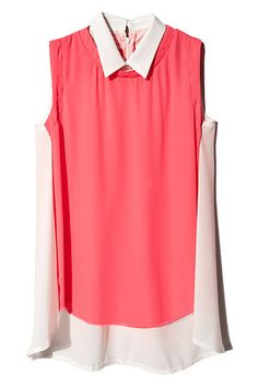 #ROMWE | Dual-tone Sleeveless Pink Shirt, The Latest Street Fashion