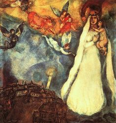 """Marc Chagall - """"Madonna of the Village"""" She watches over the village and the world is safe. What I especially love about this painting is that it is painted by Marc Chagall, a Jew....it seems very open minded and spiritually eclectically all-embracing that he can tap into the divine mother archetype we find in the Madonna. One of my favorite paintings."""