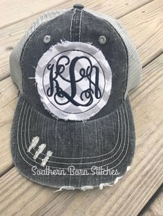 f3c67369e8b Items similar to Monogrammed distressed trucker hat initials with stitching  womens personalized cap raggy patch beach hat on Etsy