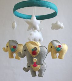 Baby Crib Mobile- Baby Mobile-Elephant Mobile- Yellow and Gray Felt Nursery Mobile- Baby Girl Mobile- Fuschia and Teal (Pick Your Colors)