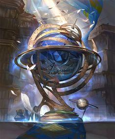 Card: Globe of the Starways Anime Art Fantasy, Fantasy Concept Art, Weapon Concept Art, High Fantasy, Dark Fantasy Art, Fantasy Artwork, Fantasy World, Fantasy Art Landscapes, Fantasy Landscape