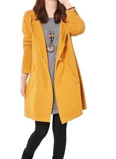 yellow sweater dress knitwear cotton dress long women knitted ...