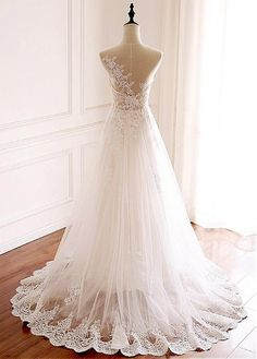 Wedding Dresses Ball Gown, Elegant Tulle Jewel Neckline Full-length A-line Wedding With Lace Appliques DressilyMe Western Wedding Dresses, Top Wedding Dresses, Wedding Dress Trends, Perfect Wedding Dress, Designer Wedding Dresses, Bridal Dresses, Wedding Gowns, Lace Weddings, Dream Wedding