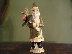 Folk Art Chalkware Belsnickle Santa from Chocolate Mold Gold Coat