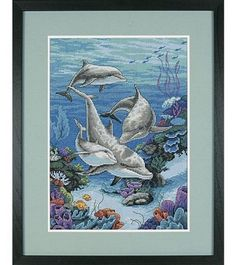 Dimensions Cntd Cross Stitch Kit - The Dolphins Domain