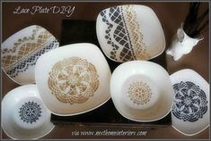 Lace Plate DIY Glue Doily to bottom of clear plate, then cover with plain color fabric?