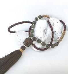 Ketten lang - lange Kette, Buddha, Quaste - ein Designerstück von moanda bei DaWanda