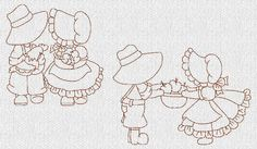 Kids Sunbonnet  EG Machine Embroidery Quilt Blocks RW