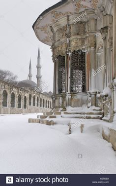 A snowy day in Eyup Sultan Mosque complex,Eyup,istanbul,Turkey Stock Photo