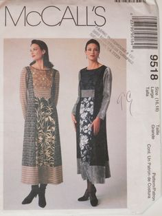 Plus Size Sewing Pattern Misses Long Pullover Dresses With Princess Seams McCall's 9518 UNCUT Size 16-18 Misses Sewng Pattern by SKRSewingSupplies on Etsy