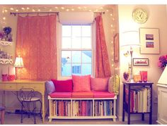 This kinda how I want my room:) colorful with twinkle lights and paris decor in it.Ü