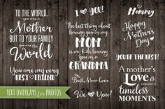 Mother Quote Phrases Overlays PNG by Studio29 on @creativemarket