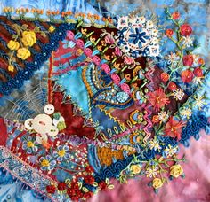 I ❤ crazy quilting & embroidery . . .  The first block of the Encrusted Crazy Quilting class with Sharon - just finished. So much fun and joy! ~By Brigitte Otto