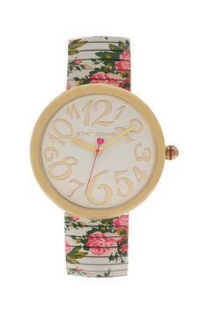 Betsey Johnson Women's Blue Floral Printed Expansion Watch