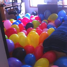 Birthday surprise for when my son gets home from school. Balloons with $$ hiding inside. Now he only has to pop over 100 balloons!
