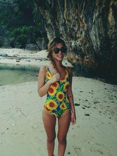 Swimwear: sunflower one piece swimsuit one piece beach summer sunglasses #beachoutfitswomen