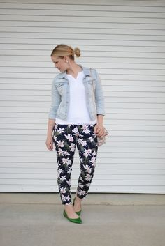 Floral pants and poppy barley flats