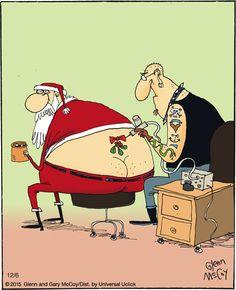 Grumpy, Bad Santa tat kiss my ass santa☺ . The Flying McCoys on Gocomics Christmas Jokes, Christmas Fun, Holiday Fun, Xmas Jokes, Funny Christmas Cartoons, Christmas Comics, Vintage Christmas, Christmas Cards, Naughty Santa