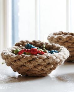 Sweet Rope Bowls for Nautical Flair. I think the trick is to use really thick rope. I tried this with thinner rope and the shape turned out wacky.