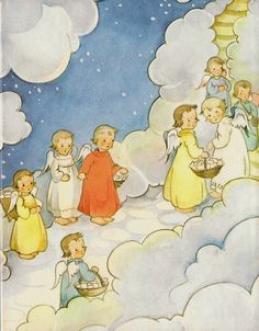 The designs of Schmid are delicately colored, representing angels and children and, at times, are particularly imaginative and never dull. There is a window up there, which lies between the puffy clouds and snow from there entering and leaving in droves angels who bring in Heaven the letters to the Child Jesus: