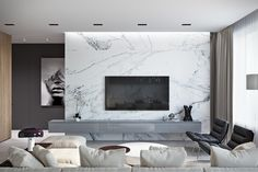 Marble isn't just for floors anymore. This slab-style wall brings this livin… Marble isn't just for floors anymore. This slab-style wall brings this living room from simple to spectacular. Living Room Modern, Living Room Interior, Home Living Room, Home Interior Design, Living Room Decor, Design Interiors, Feature Wall Living Room, Tv Feature Wall, Living Room Tv Unit Designs