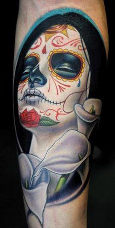 Inspiring art by Sylvia Ji, tattooed by Nikko Hurtado. Skull Candy Tattoo, Candy Skulls, Mexican Skull Tattoos, Sugar Skulls, Bild Tattoos, Top Tattoos, Great Tattoos, Beautiful Tattoos, Body Art Tattoos