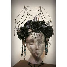 Gothic spider web headdress The Dark Crystal ❤ liked on Polyvore featuring home, home decor, goth home decor, crystal home decor and gothic home decor
