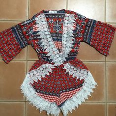 Boho red, white and blue romper Brand new. Never worn. Super cute. 97 cotton 3% elastane. Chic Wish Other