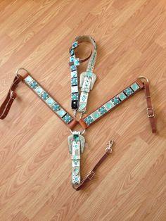 Turqouise Bling Belt Horse Tack Set - Leathered Backed on Etsy, $300.00