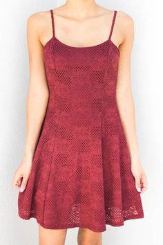 CASSIE RED LACE FLARE DRESS