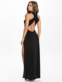 1f01d5fa2c Plain Cross Back Split Maxi Dress by John Zack in Black Uk Fashion, Fashion  Online