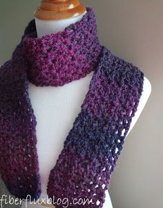 Fiber Flux … Adventures in Stitching: Free Crochet Pattern … Blueberry Pie Scarf … - Breien Haken Crochet Scarves, Crochet Shawl, Crochet Clothes, Easy Crochet, Crochet Patterns For Scarves, Double Crochet, Crochet Gratis, Free Crochet, Crochet Geek