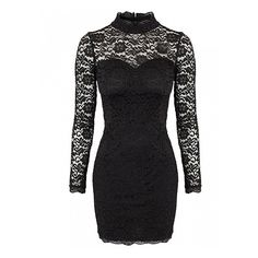 Black Long Sleeve Backless Lace Dress ($26) ❤ liked on Polyvore
