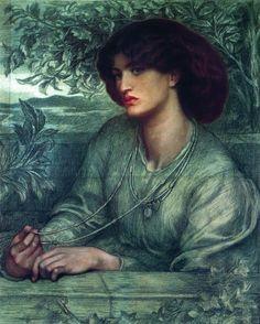Dante Gabriel Rossetti (1828-1882), Aurea Catena, Portrait of Jane Morris (1868), graphite and coloured chalk on blue wove paper